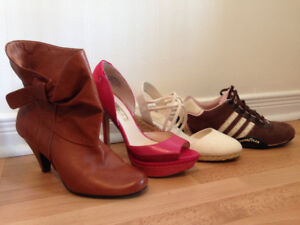 Womens shoes for size 8-8.5 feet. Package of four pairs. used