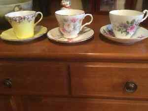 Vintage fine bone China tea cup and saucer sets $10 each OBO