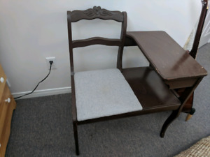 Antique press back telephone table