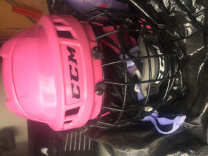 Pink hockey helmets with mask