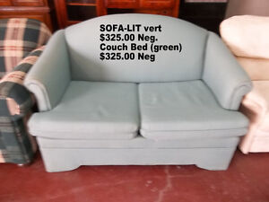 Love seat, sofa and chairs and couch bed. Prices on each Article