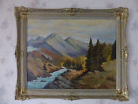 NICELY PAINTED VINTAGE CANADIAN PAINTING ROCKY MOUNTAINS