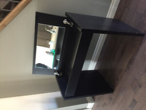 Black vanity table with flip top mirror