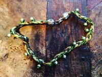A beautiful unusual plated multi green necklace with pearls.