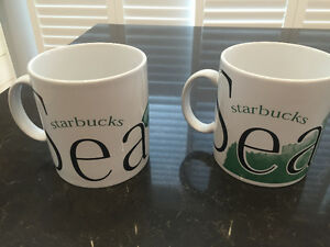 TWO ORIGINAL SEATTLE STARBUCK MUGS-NEVER USED, FIRST SERIES