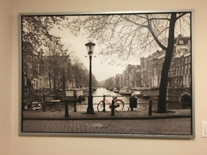 """55"""" x 39 ¼"""" B&W Painting of Amsterdam Red Bicycle with Frame"""