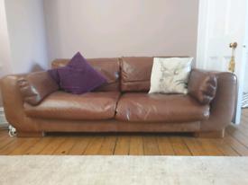 Italian made Leather 3 seat sofa plus footstool