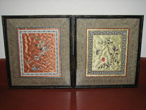 Vintage Chinese Silk Fabric Hand Embroidered Art Pictures Pair 2 Kitchener / Waterloo Kitchener Area image 2
