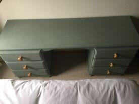 Pine Dressing Table/Desk painted in Duck Egg Chalk