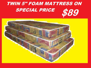 TWIN FOAM MATTRESS SALE $89 ONLY DOUBLE AND QUEEN AVAILABLE..