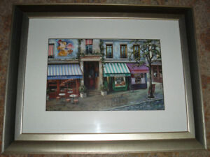 BRAND NEW French / France Cafe / Café Painting with Silver Frame