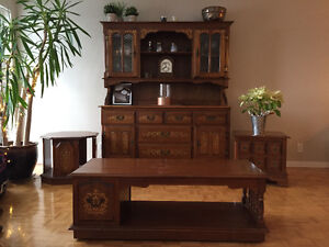 Display Cabinet, coffee table, 2 end tables and Sofa/Arm Chair