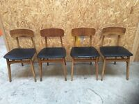 Vintage, retro 1960s set of 4 dining room chairs