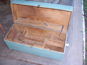 Vintage Wooden Tool Chest 33 by 13 and 17in Deep