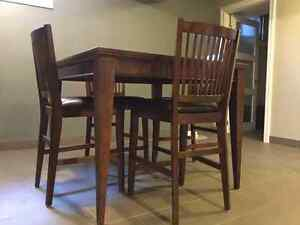 QUALITY, SOLID WOOD, PUB STYLE TABLE AND FOUR CHAIRS Windsor Region Ontario image 1