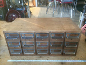 Walnut wood cabinet parts or tool organizer file