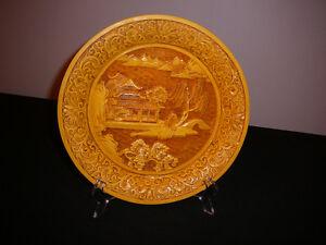 """Assiette antique/1900 de collection asiatique SIGNÉE, cinabre 9"""""""