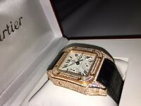 CARTIER SANTOS DIAMOND ICED GOLD *RARE* XL BRAND NEW FULL WARRANTY PAPERS BOX SWISS AUTOMATIC ETA