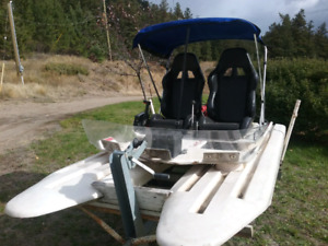 UNIQUE TWO PERSON ENGINEERED CATAMARAN BOAT 25 HP
