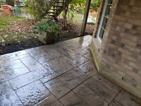 Exposed, Stamped Concrete, Flagstone, Parging, Sealing
