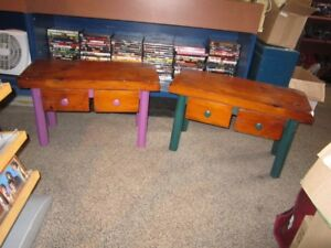 Set Of 2 Wood Bench-Tables With Pull Out Drawers For Sale