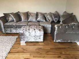 6 seater crushed velvet corner sofa