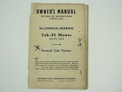 Cub-22 Mower Farmall Cub Tractor Owners Manual Parts List Mccormick Deering 1947