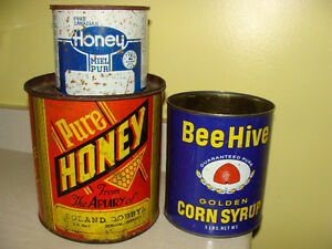 INTAGE HONEY & CORN SYRUP TINS; COLOURFUL!
