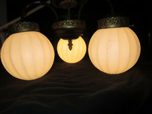 RETRO FLUTED GLOBE HANGING LAMP $30.00
