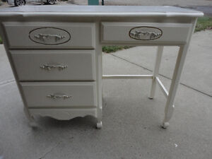 Midcentury White Painted Solid Wood French Style Desk