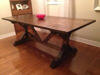 BRAND NEW Rustic Harvest Table & Matching X Leg Bench(es)