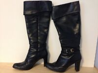 Tall black leather Naturalizer Willa Boot (size 9)