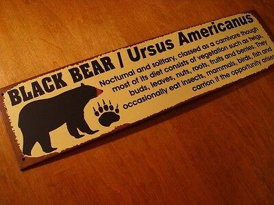 RUSTIC LODGE BLACK BEAR INFORMATION SIGN & PAW PRINT Log Cabin Home Wall Decor