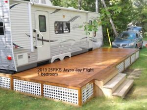 Trailers for Sale in a park on Balsam Lake