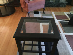 Rectangular coffee table with end table