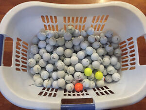 About 150 used golf balls