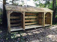 Wooden log store, delivered fully assembled