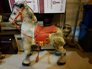 Rare Find Ride On Tin Horse Moves Forward When On it