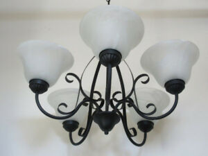 5-Light Chandelier -- Black Metal, Frosted Glass Shades