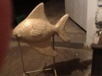 Solid Wood carved fish with stand