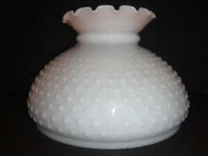 VINTAGE  HOBNAIL MILK GLASS STUDENT LAMP SHADE FLUTED TOP