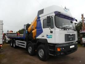 2004 MAN F 2000 32.400 8x4 24/30ft flat, Copma 600 remote crane, draw bar