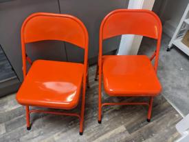 "2x Red Habitat ""Macadam"" folding metal chairs"