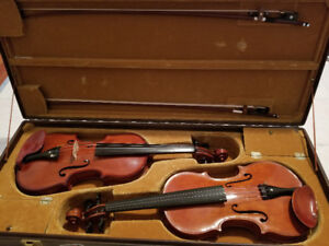 Violins - Pair of hand made violins in double case