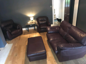 **PRICE DROP** G Plan Plum Sofa and two armchairs & footstool.