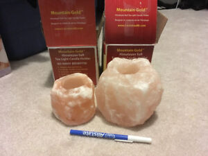 2 BNIB Mountain Gold Himalayan Salt tea light candle holders