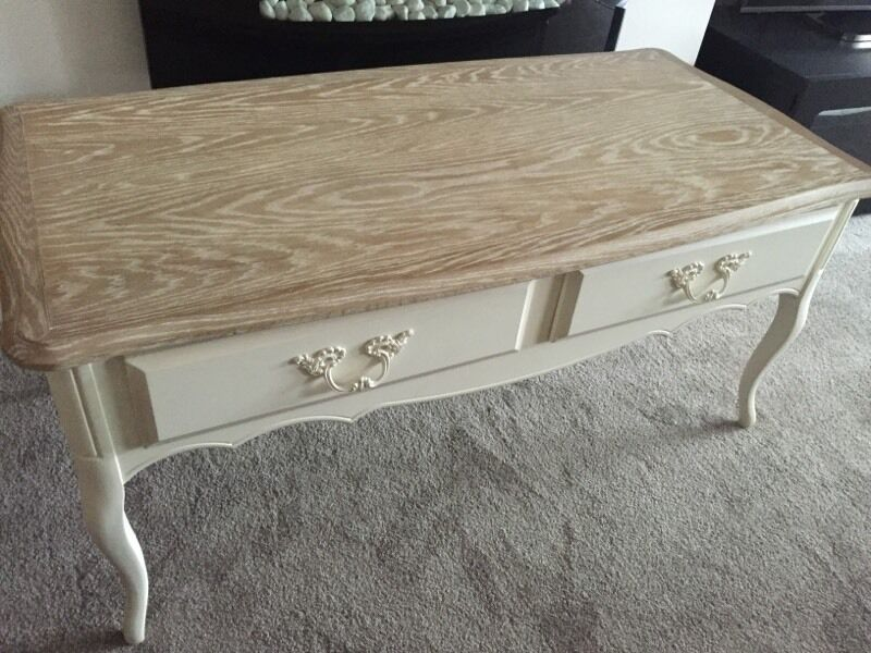 Provencale Ivory 2 Drawer Coffee Table Oak Top
