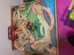 train table with 2 train track set and more