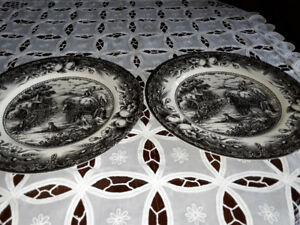 BLACK TRANSFERWARE PLATES, ROYAL STAFFORD,  ENGLAND