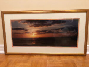 Large East-West Sunset Art with Gold Frame